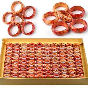 30/50Pcs Wholesale Band Ring Jewelry Lots Mixed Bulk Natural Natural Wooden Ring