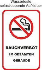 Nicht Rauchen Gebäude Aufkleber Verboten Rauchverbot Nichtraucher ab 4x8cm