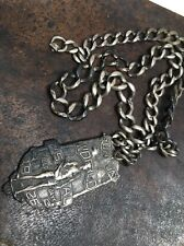 Vintage Sterling Silver 1926  Sunday World Field Day PSAL Medal Fob And Chain