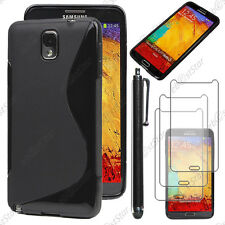 Housse Etui Coque Silicone Noir Samsung Galaxy Note 3 N9000 + Stylet + 3 Films
