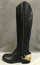 NEW VICTORIA'S SECRET COLLECTION $298 BLACK LEATHER STUDED RIDING BOOTS SZ 5