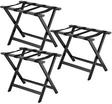 3 PACK Luggage Suitcase Rack Wood Folding Hotel Shelf Stand Tray Cart Black