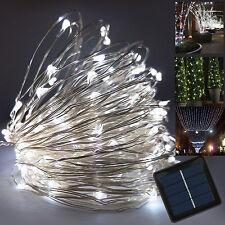 Albero di Natale Fairy LED Solare Rame Filo Luce Stringa bianco freddo Lampada