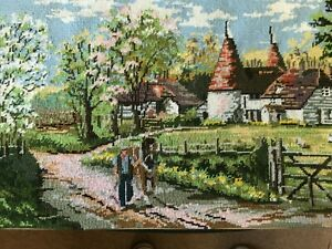 Vintage Tapestry Picture British Collection Garden of England - Oast House Scene