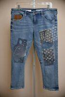 Pilcro and The Letterpress Women's 31 Hyphen Patchwork Capri Jeans Anthropologie