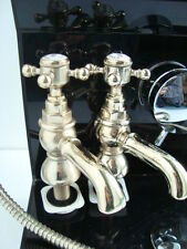York Antique Traditional Antique Gold Bath pillar taps Pair new Boxed bathroom