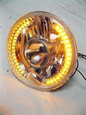 "Street Hot Rod 7"" Projector Glass Headlight w/ Amber LED Turn Signal H4 Bulb"