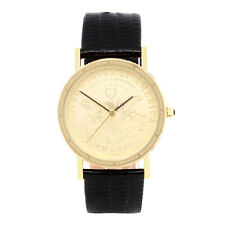 Conqueror Liberty $20 Gold Coin Design Back Textured Leather Watch LBRU-032014l