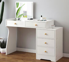 Modern White Dressing Table With Folding Mirror 5 Drawers Storage Make Up Table