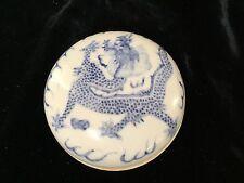 "Antique Chinese Qing blue white porcelain paste box + dragon seal mark 2.75"""