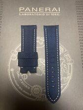 Panerai OEM 24mm Blue Nylon Strap W White Stitch 24/22mm for Tang