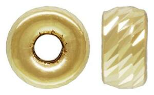 14K Yellow Gold 4 mm Diamond Multi-Cut Roundel Bead Spacer 1.4mm Hole Findings