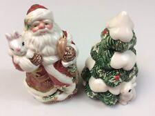 Fitz & Floyd Santa Christmas Tree Salt And Pepper Shakers Bunnies Holiday Decor
