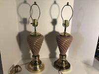 Vintage Mid Century Ginger Light Pale Pink Brass Table Lamp set of 2