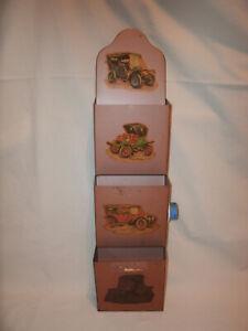 Vintage Tin Metal 3 Pocket Letter Paper or Bill Holder Wall Organizer
