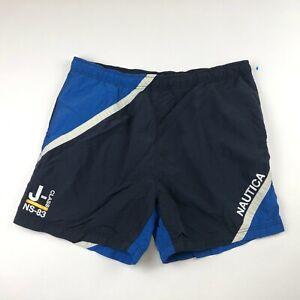 "Nautica NS-13 Mens Black Blue Board Shorts Swim Trunks Size Large x 5"" Inseam"