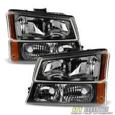 Black 2003-2006 Chevy Silverado Avalanche Headlights+Bumper Signal Parking Lamps