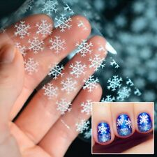 2Pcs DIY Snowflake Christmas Nail Art Tips Sticker Decal Full Wraps Decorations