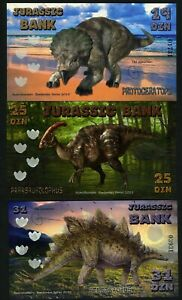 SET, Jurassic Bank, 19;25;31 Din, 2015 POLYMER, UNC > 3 Note Dinosaurs Set