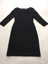 Lands End Womens 2 Solid Black 3/4 Sleeve Ponte Sheath Dress