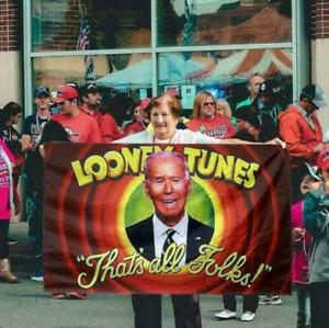 Looney Tunes Joe Biden Donald Trump Flag America Great Banner