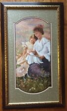 Home Interiors Framed Matted Sewing Lesson Picture Fran Di Giacomo Vintage Rare