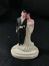 Vintage Antique 1920's 1930's Wedding Cake Topper Chalkware Bisque Bride Groom