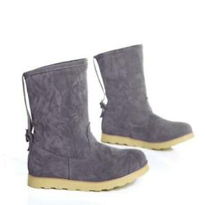 New Women Flat Heel Ankle Boots Faux Suede Pull On Slouch Comfy Snow Booties D