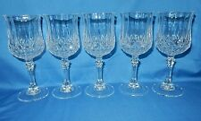 """Set of 5 Cristal D'Arques 6 1/2"""" tall Crystal Faceted Wine goblets Longchamp"""