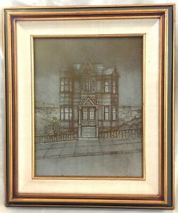 Vintage Framed Copper Etching Plate - Signed Evans