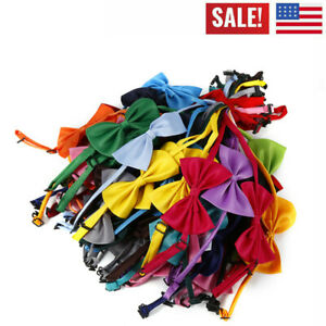 50-~100Pcs Random Color Wholesale Pet Dog Puppy Necktie Bow Tie Ties Collar·-USA