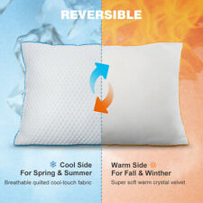 Reversible Bed Pillow 3D Mesh Gusset Cooling Warm for Neck Pain Side Back Cozy