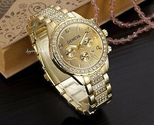 GOLD Geneva Chronograph Designer Style Ladies Womens Crystals Bling Watch Free