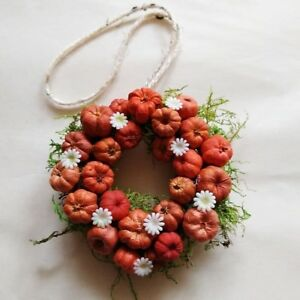 Handmade Pumpkin Pod Wreath Ornament with Moss 3 inches