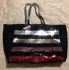 New Tags! VICTORIA'S SECRET Bling Stripe Sequin Carryall Tote-See Pics Black/Red