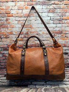 Marino Orlandi Leather Travel Bag XL Italian Brown And Orange Duffle Italy EUC