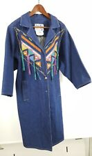 Womens Pioneer Wear Hand-Painted Long Duster Coat Cotton Blue Denim Southwest