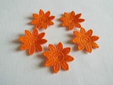 Iron on / sew on Orange, Guipure Lace ,Applique, Daisy-Flower Motifs x 5 (4cm)