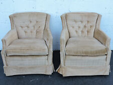 Pair of Tufted Mid-Century Living Room Side by Side Chairs 7108
