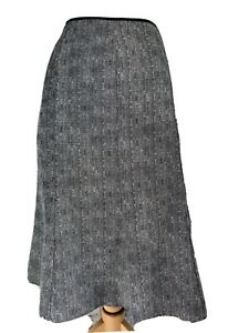 Klass A-Line Skirt Asymmetric Hem Grey Black White Flecked Mid Length UK 14