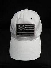 Nike Golf Unstructured White Twill Dad Hat With Grey American Flag Patch