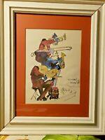 Vintage New Orleans 1976 Signed Framed Meisman Watercolor Print JAZZ MUSICIANS