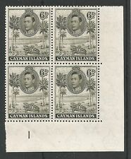 CAYMAN ISLANDS SG122  1938 GVI 6d OLIVE GREEN P11.5X13 MNH PLATE BLOCK C.£60+