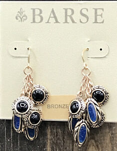Barse Masquerade Cluster Earrings- Onyx & Indigo Quartz- Bronze- New With Tags