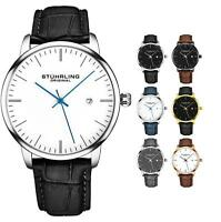Stuhrling Men's 3997 Minimalist Design Dress Casual Date Genuine Leather Watch