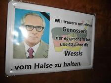 Lamiera SCUDO ci lutto per un compagni... Honecker circa 20x 30 cm Gross piegato