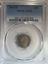 1914-D PCGS Certified Barber Old Silver Dime AU53 10 c Cent Coin 105