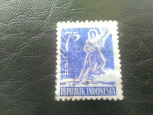 USED STAMP OF INDONESIA 1953 DEFINITIVE 75 SEN BLUE.