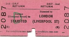 B.r.b. Edmondson Fahrkarten-Stansted zur London Liverpool Street