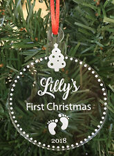 Babys First Christmas - Personalised Engraved Acrylic Ornament - Made In Aus